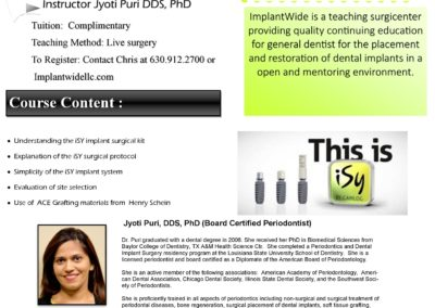 Live Surgery Introductory Course on a Single Implant Placement